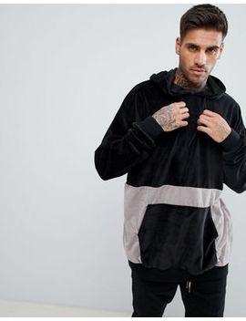 boohooman-towelling-colour-block-hoodie-in-black by boohooman