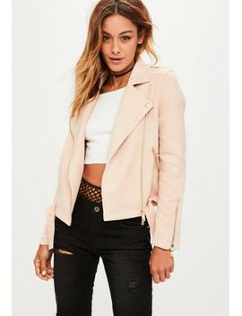 pink-raw-edge-biker-jacket by missguided
