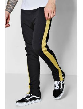 tyga-skinny-fit-panel-joggers-with-zip by boohoo