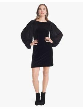 chiffon-sleeve-black-velvet-shift-dress by whbm
