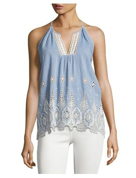 josepe-crochet-tank-top,-blue by joie