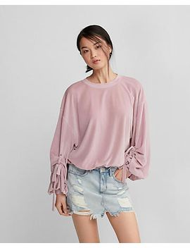 balloon-tie-sleeve-velvet-sweatshirt by express
