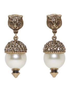 gold-feline-pearl-earrings by gucci