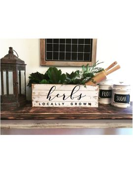 decorative-wooden-crate,-vintage-kitchen-decor,-herbs-locally-grown by etsy