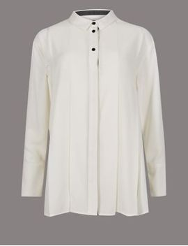 placket-pleated-long-sleeve-shirt by marks-&-spencer