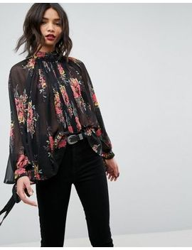 asos-high-neck-floaty-blouse-in-floral by asos-collection