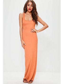 orange-sleeveless-maxi-dress by missguided