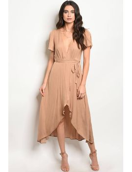 ladies-fashion-short-sleeve-satin-wrap-dress-with-a-v-neckline-and-a-uneven-hemline-id34108 by 599fashion