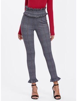 ruffle-waist-and-hem-plaid-skinny-pants by sheinside