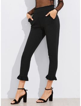 sheinfrill-trim-tailored-cropped-pants by sheinside