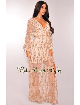 champagne-flowing-sequins-long-sleeves-maxi-dress by hot-miami-style