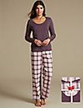 pure-cotton-checked-long-sleeve-pyjama-set by marks-&-spencer