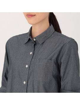women-organic-cotton-chambray-stripe-shirt-navy by muji