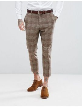 asos-wedding-tapered-suit-trousers-in-camel-wool-mix-tartan-check by asos