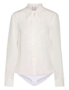 the-boss-pussy-bow-silk-crepe-de-chine-bodysuit by tuxe-bodywear