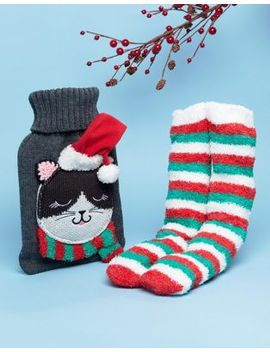 asos-christmas-cat-hot-water-bottle-and-socks-set by asos-collection