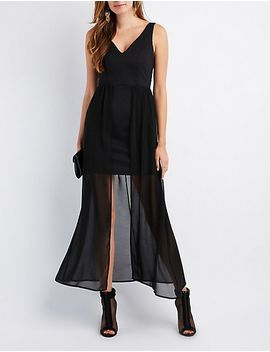 v-neck-overlay-maxi-dress by charlotte-russe