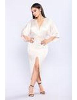 bexley-draped-dress---champagne by fashion-nova