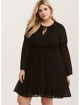 black-textured-stitch-chiffon-skater-dress by torrid
