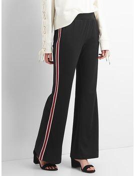 ponte-stripe-wide-leg-track-pants by gap
