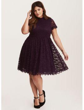 deep-purple-high-neck-lace-skater-dress by torrid