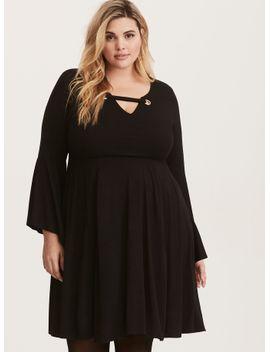 black-challis-bell-sleeve-skater-dress by torrid