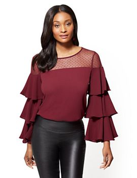 mesh-tiered-sleeve-blouse---7th-avenue by new-york-&-company