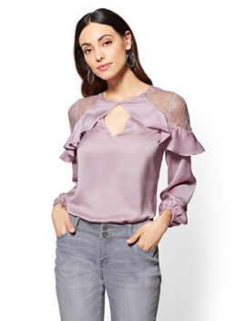 lace-accent-keyhole-top by new-york-&-company