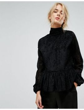 gestuz-velvet-printed-peplum-blouse by gestuz