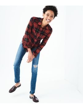 final-sale--long-sleeve-metallic-plaid-flannel-woven-shirt by aeropostale
