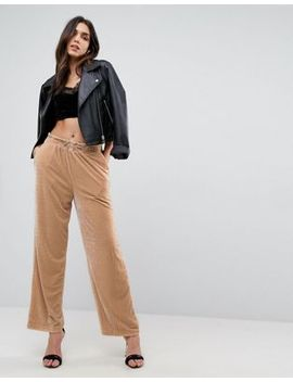 asos-wide-leg-velvet-sweatpants-with-elastic-cord by asos-collection