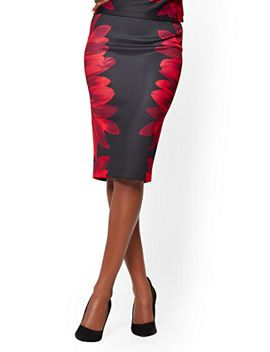 black-pull-on-pencil-skirt---floral by new-york-&-company