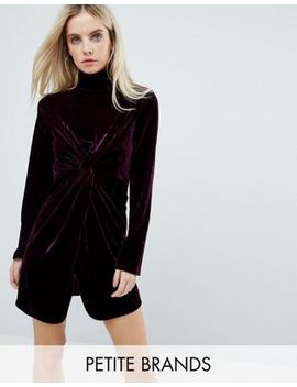 fashion-union-petite-long-sleeve-mini-dress-with-high-neck-in-velvet by fashion-union-petite