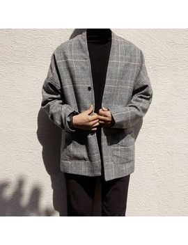 buttoned-glen-plaid-jacket by yesstyle