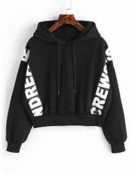 graphic-fleece-crop-hoodie---black by zaful