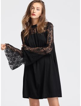 floral-lace-insert-flute-sleeve-dress by sheinside