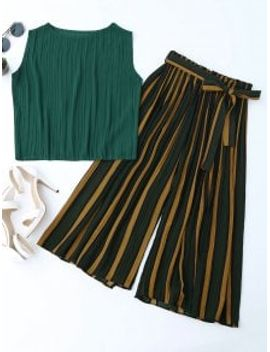 pleated-top-with-color-block-striped-gaucho-pants---blackish-green by zaful
