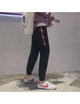 drawstring-paneled-embroidered-sweatpants by yesstyle
