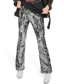 premium-sequin-flare-leg-trousers by topshop
