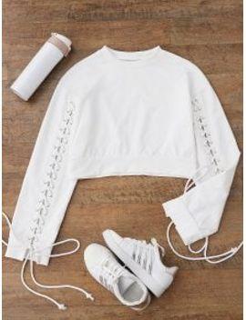 cropped-lace-up-sleeve-sweatshirt---white-s by zaful
