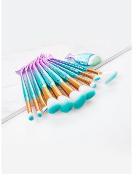 ombre-mermaid-handle-makeup-brush-set-10pcs by sheinside
