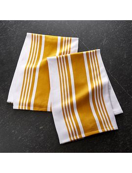 cuisine-stripe-yellow-dish-towels,-set-of-2 by crate&barrel