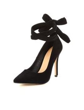 zoe real-suede-soft-wrapped-heeled-shoe---black by v-by-very