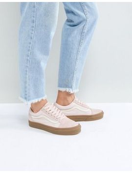 vans-old-skool-trainers-in-pink-fuzzy-suede-with-gum-sole by vans