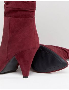 New Look Wide Fit Rouche Mid Calf Heeled Boot