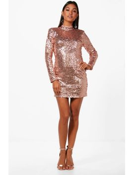 sequin-high-neck-power-shoulder-bodycon-dress by boohoo