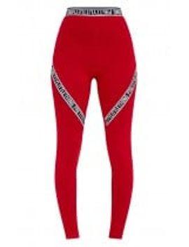 red-prettylittlething-trim-leggings by prettylittlething
