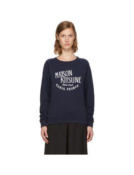 navy-palais-royal-sweatshirt by maison-kitsunÉ