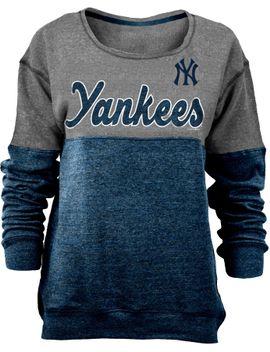 new-era-womens-new-york-yankees-grey_navy-long-sleeve-fleece-pullover by new-era