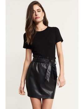 faux-leather-skirt-with-belt by dynamite